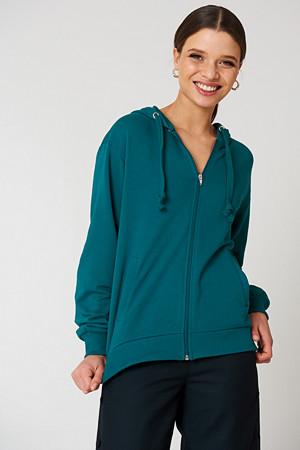 NA-KD Basic genser, Basic Zipped Hoodie grön