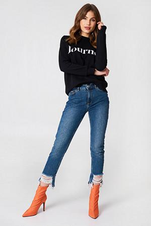 NA-KD Trend jeans, Ripped Hem Jeans