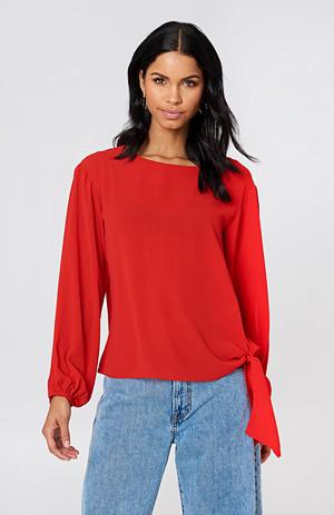 Rut&Circle bluse, Julia Open Sleeve röd