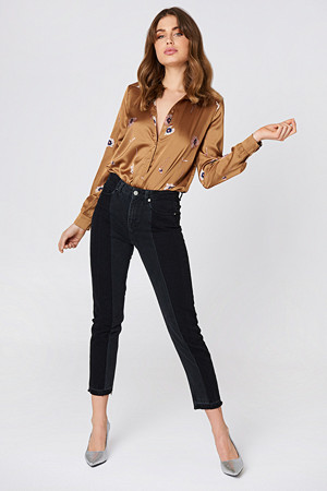 NA-KD Trend jeans, Two Wash Panel Jeans
