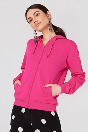NA-KD Basic genser, Basic Zipped Hoodie rosa
