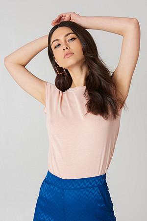 NA-KD Basic T-skjorte, Raw Edge Tee rosa