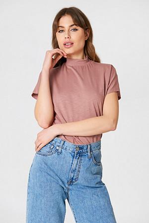 NA-KD T-skjorte, High Neck Cap Sleeve Top