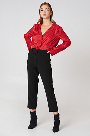 NA-KD Trend bukse, Raw Hem Pants svart