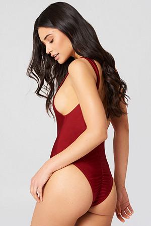 Hannalicious x NA-KD badedrakt, High Cut Swimsuit röd