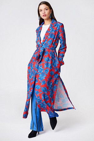 NA-KD kåpe, Shiny Fluid Trenchcoat multicolor