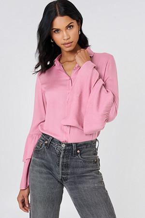 Josefin Ekström for NA-KD skjorte, Ruffle Sleeve Shirt rosa