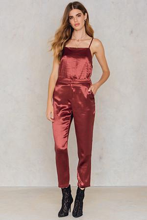 NA-KD Party bukse, Metallic Straight Pants röd röd