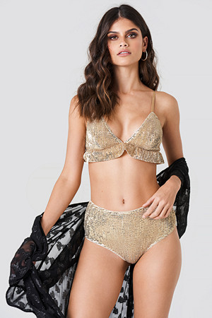 NA-KD Lingerie truse, Sequins High Waist Bottom guld