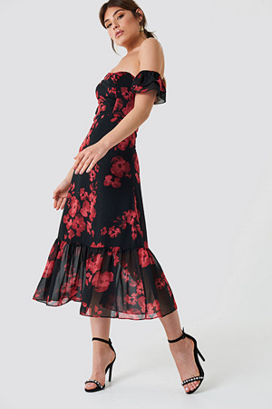 Trendyol kjole, Relaxed Shoulder Midi Dress multicolor