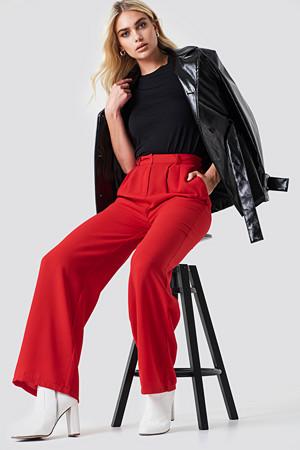 NA-KD bukse, Wide Pants röd