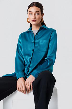 NA-KD skjorte, Satin Oversized Shirt grön