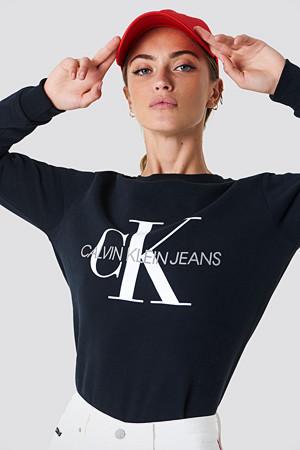 Calvin Klein genser, Core Monogram Logo Sweatshirt svart