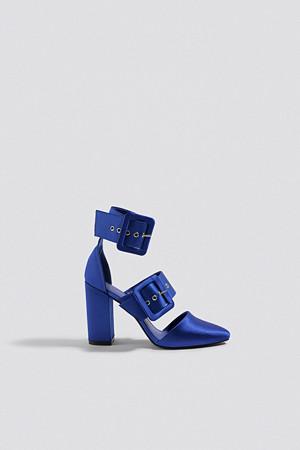 NA-KD Shoes pumps, Multi Buckle Block Heels blå