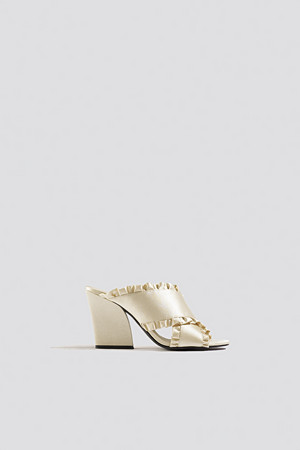 NA-KD Shoes pumps, Frill Cross Mule Heels beige