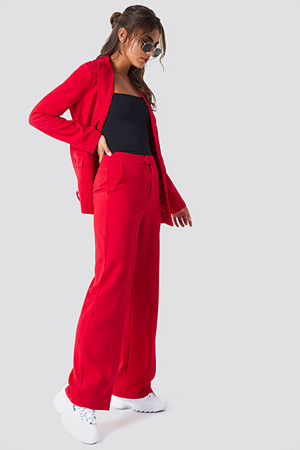 NA-KD Classic bukse, Wide Leg Tailored Pants röd