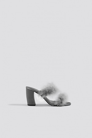NA-KD Shoes pumps, Feather Mule Heel Sandals grå