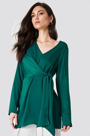 NA-KD Classic bluse, V-Neck Tie Waist Blouse grön