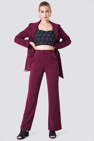 NA-KD Classic bukse, Wide Leg Tailored Pants röd lila