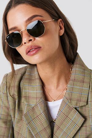 Ray-Ban solbriller, Hexagonal svart grön guld