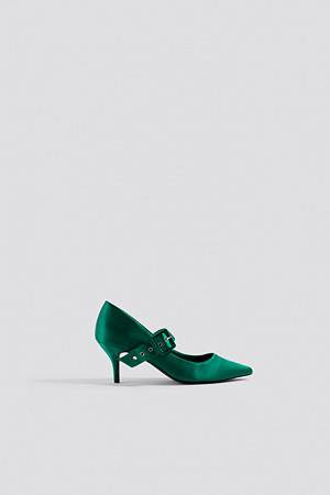 NA-KD Shoes pumps, Satin Buckle Pumps grön