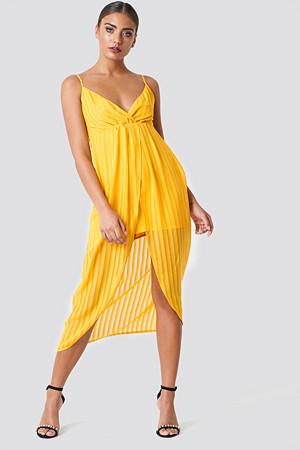 NA-KD Party kjole, Twist Front Strap Dress gul