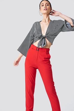 NA-KD bukse, Turn Up Belted Pants röd
