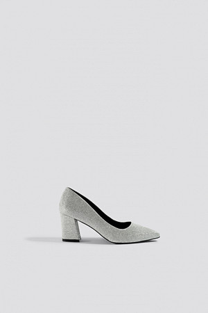 NA-KD Shoes pumps, Sparkling Block Heel Pumps silver