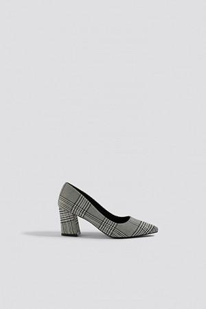 NA-KD Shoes pumps, Checked Block Heel Pumps grå multicolor