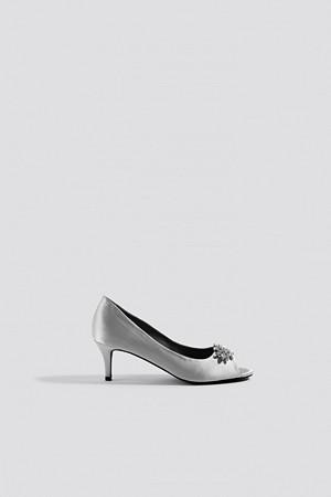 NA-KD Shoes pumps, Open Toe Embellished Pumps grå silver