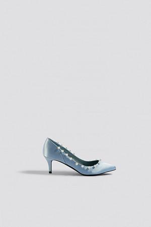 NA-KD Shoes pumps, Pearl Detail Pumps blå
