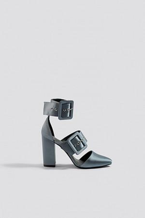 NA-KD Shoes pumps, Multi Buckle Block Heels grå