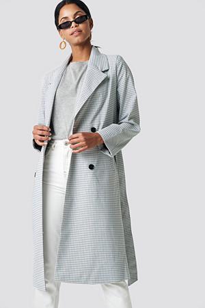 NA-KD kåpe, Plaid Long Coat grå