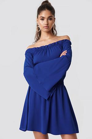 NA-KD Boho kjole, Wide Sleeve Off Shoulder Dress blå