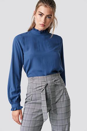 Rut&Circle bluse, Frill Polo Blouse blå