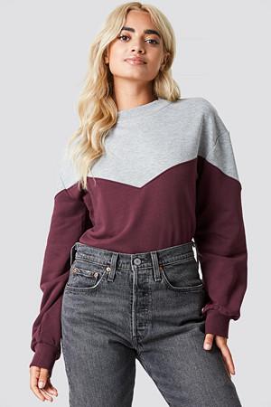 Rut&Circle genser, Mia Sweatshirt röd grå multicolor