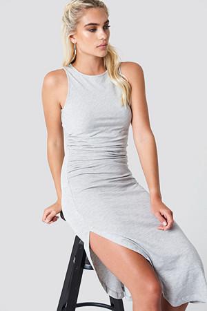 NA-KD Trend kjole, Side Ruching Dress grå