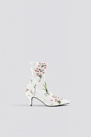 NA-KD Shoes pumps, Textured Sock Boots vit