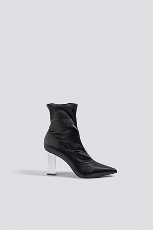 NA-KD Shoes pumps, Metallic Block Heel Sock Boots svart