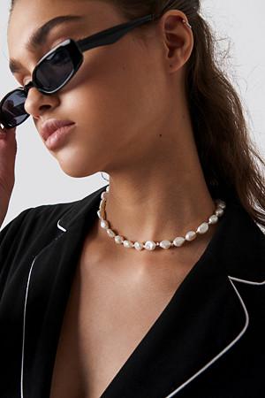 NA-KD Accessories smykke, Shell Look Necklace vit guld