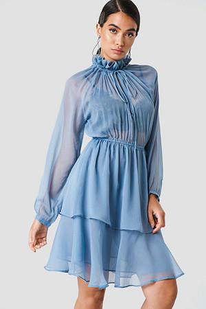 NA-KD Boho kjole, High Frill Neck Dress blå