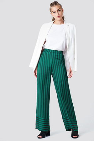 NA-KD bukse, High Waist Wide Striped Pants grön