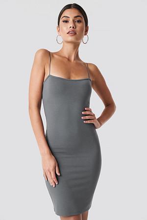 Nicki x NA-KD kjole, Bodycon Spaghetti Strap Dress grå