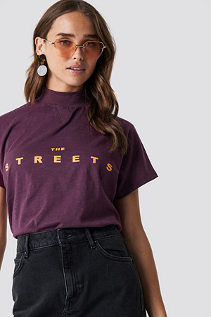 NA-KD T-skjorte, Streets Cap Sleeve Top lila