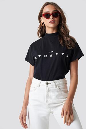 NA-KD T-skjorte, Streets Cap Sleeve Top svart