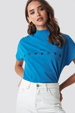 NA-KD T-skjorte, Streets Cap Sleeve Top blå