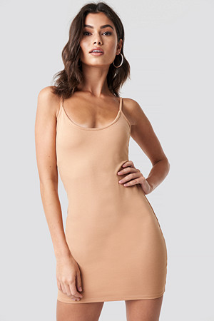 Nicki x NA-KD kjole, Thin Strap Bodycon Dress beige